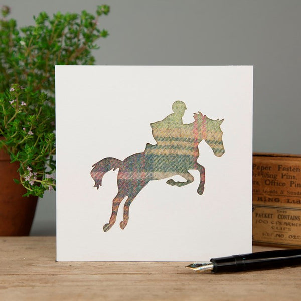 Pastel Tartan Showjumping Greeting Card