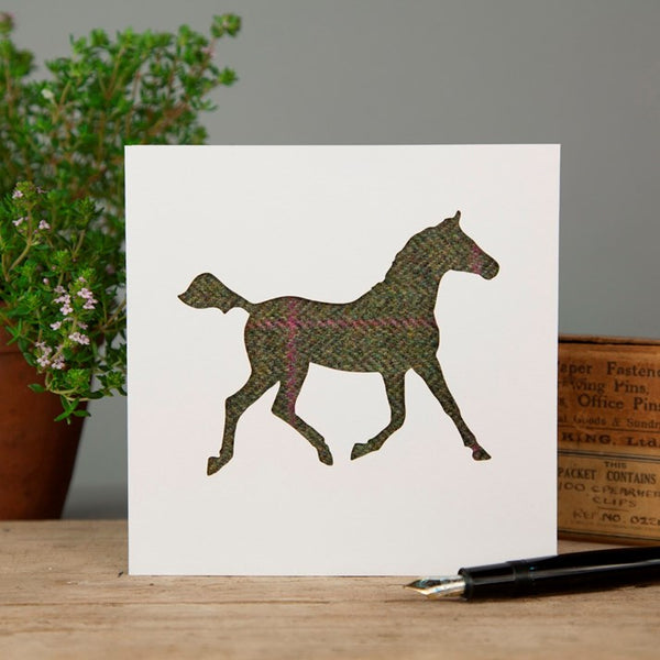 Olive/Pink Tweed Trotting Horse Greeting Card