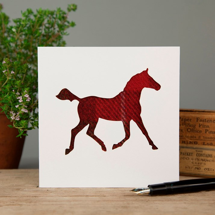 Red Tweed Horse Greeting Card