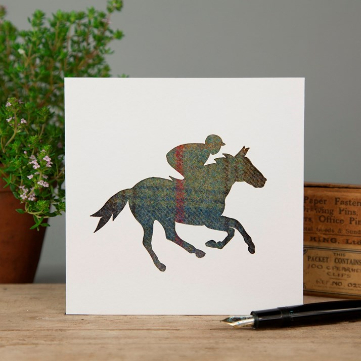 Blue/Red Tartan Horse Racing Greeting Card