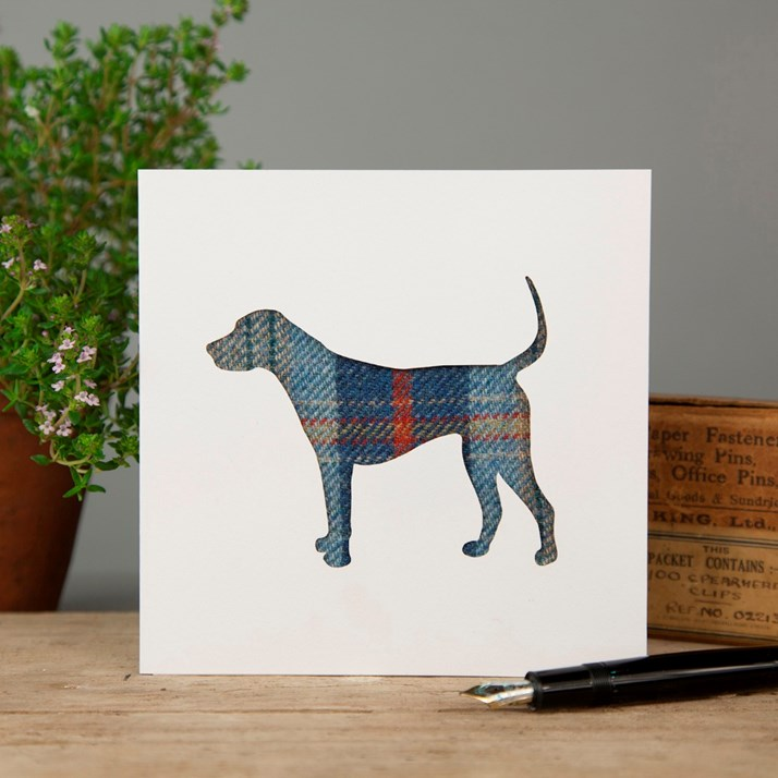 White greeting card with cut out silhouette of a hound in blue and red tartan