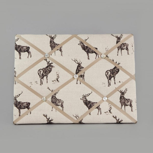 Beige Linen Noticeboard with stag print