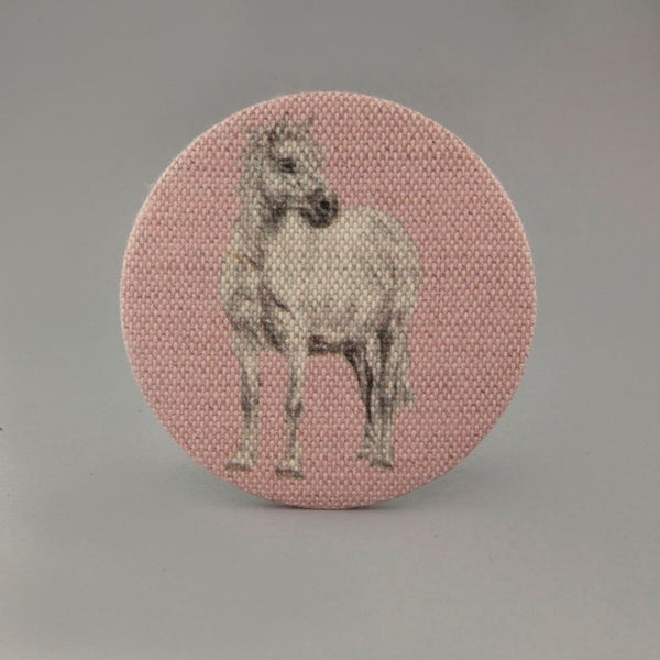Pink Linen Mirror with white pony image