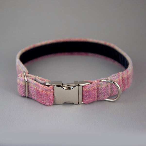 Pastel Pink Wool Tartan Dog Collar