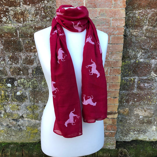 Red scarf with white horse print