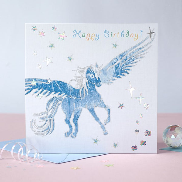 Prancing Myth Unicorn & Stars Birthday Card