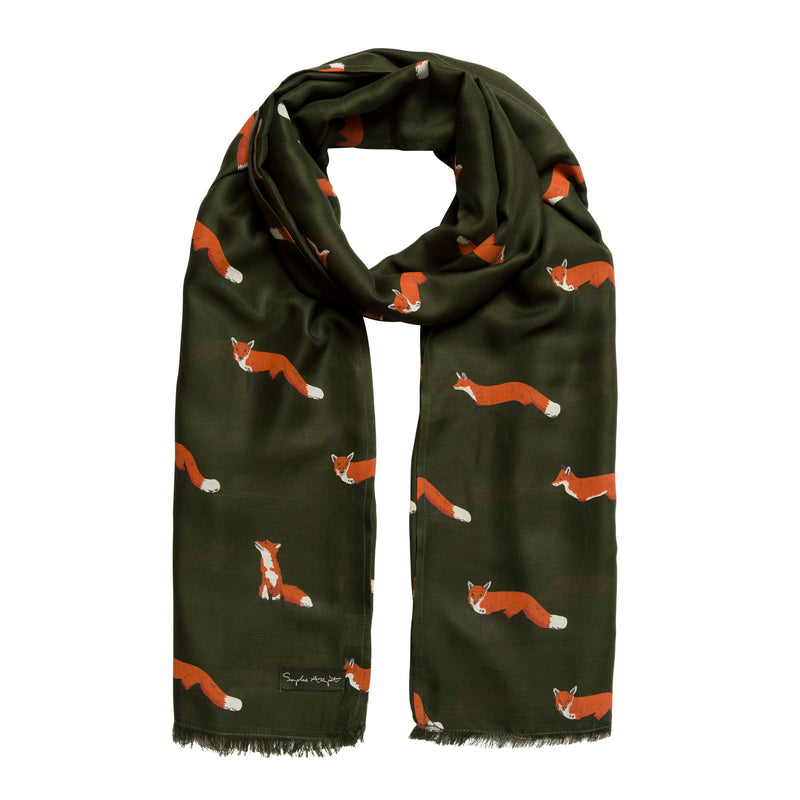 Green Sophie Allport scarf with fox print