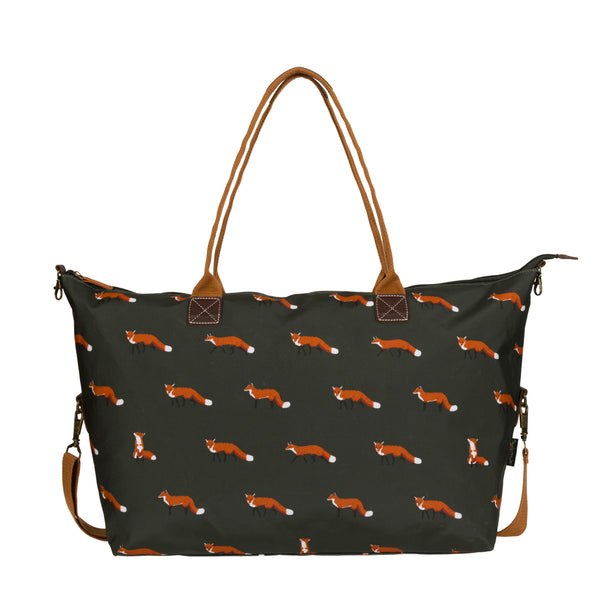 Forest green Sophie Allport Weekend Bag with brown handles and a fox print