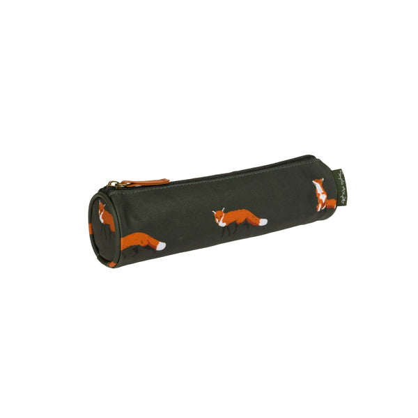 Forest green Sophie Allport Pencil Case with fox print