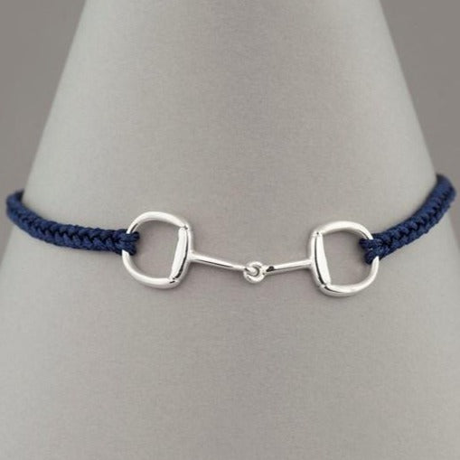 Silver Snaffle Friendship Bracelet Navy plaited leather
