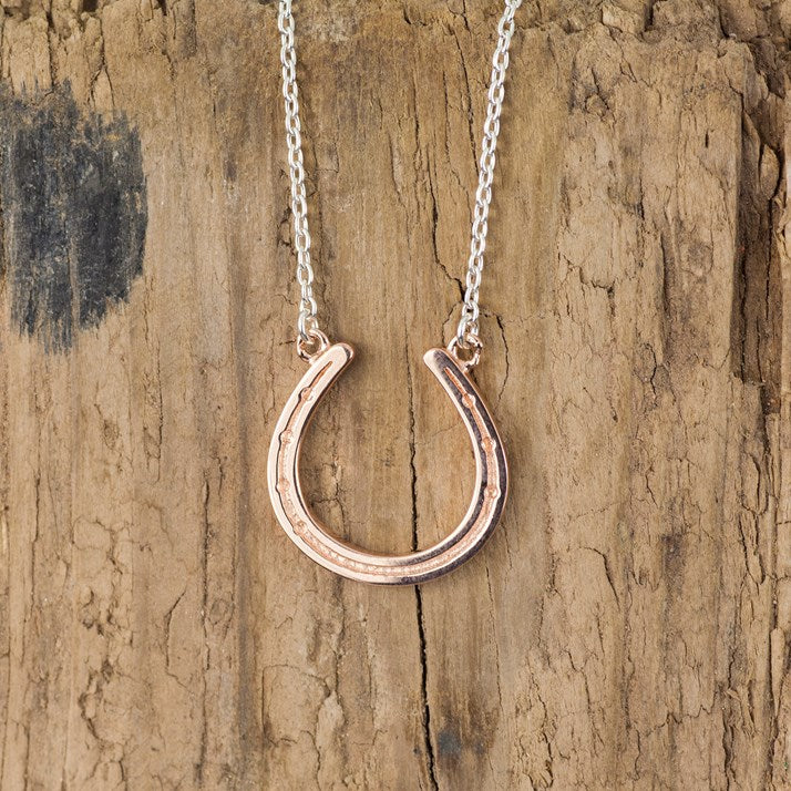 Sterling Silver and Rose Gold Horseshoe Pendant