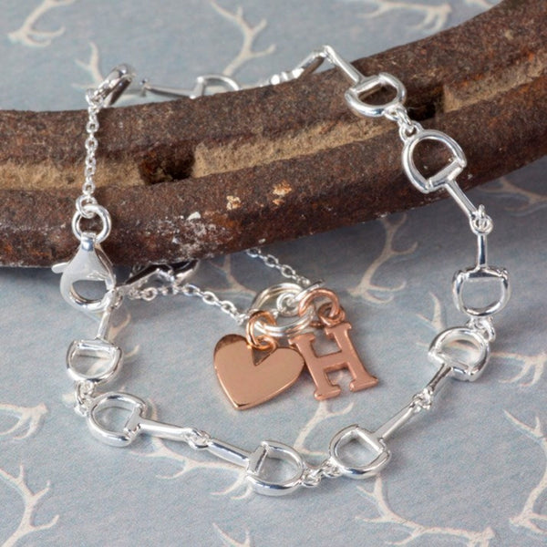 Personalised Silver Mini Snaffle & Rose Heart Bracelet