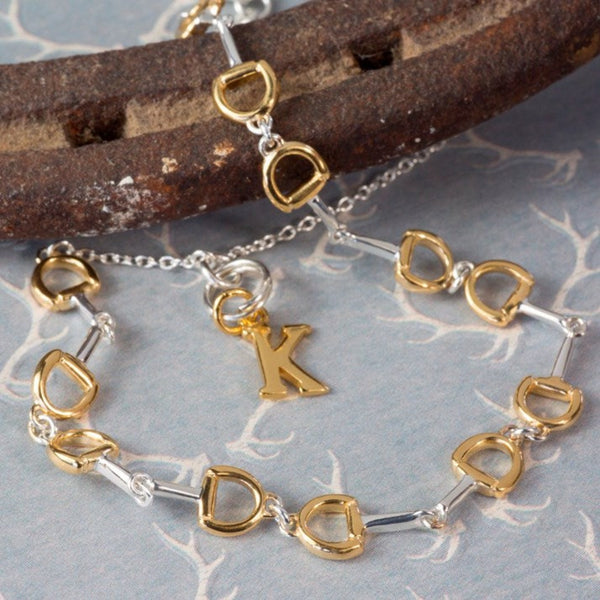 Personalised Silver & Gold Plated Mini Snaffle Bracelet