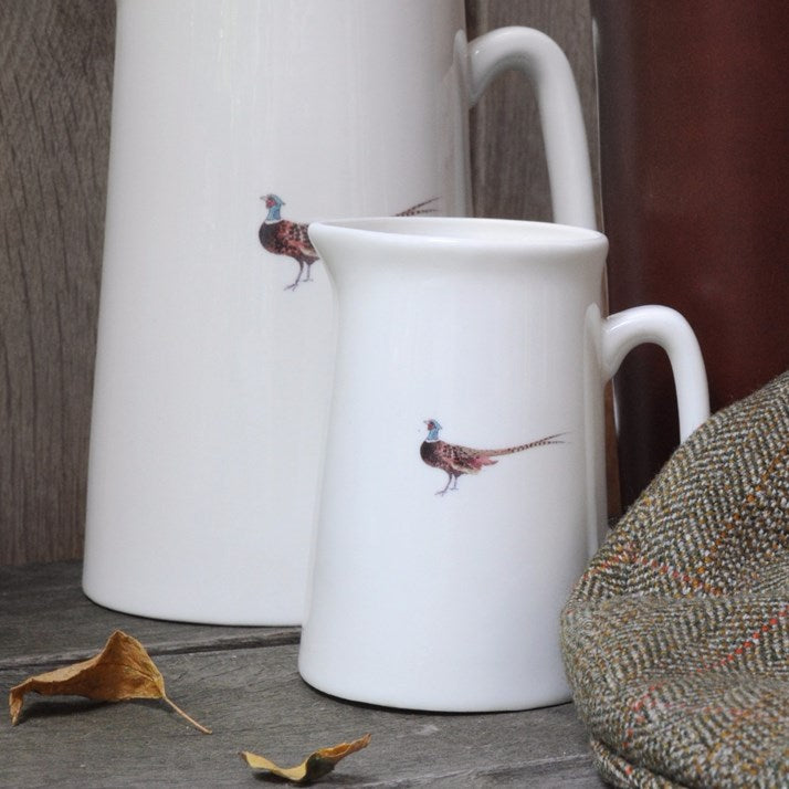 white bone china Pheasant Jug in small and large sizes