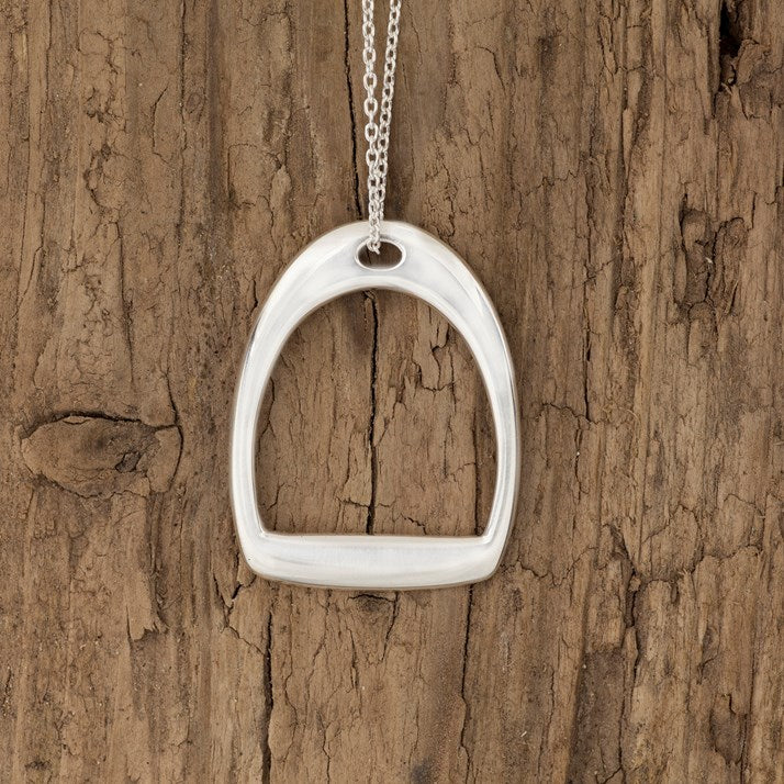 Sterling Silver Stirrup Silhouette Necklace