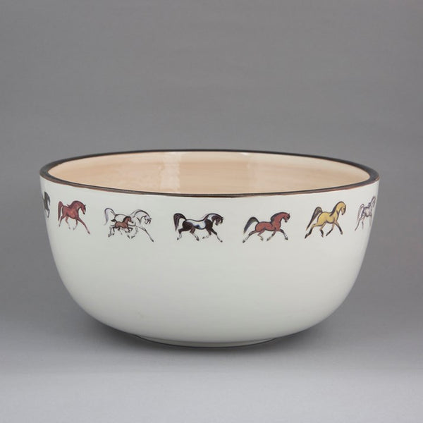 Deep Ceramic Horses Salad/Fruit Bowl