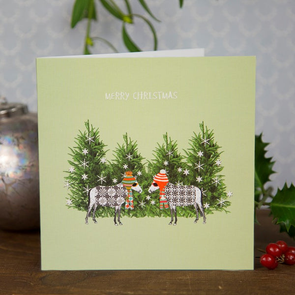 Funky Hat Horses Christmas Card