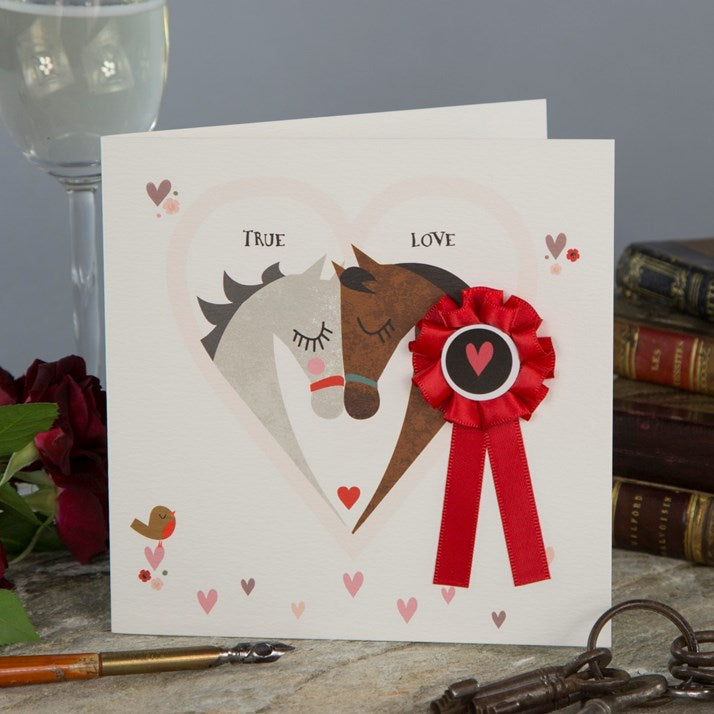 True Love Horse Card with red rosette