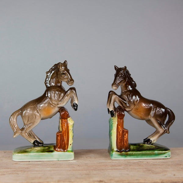 Vintage Ceramic Horse Bookends
