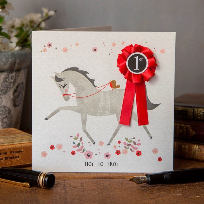 Hot To Trot Card with red rosette
