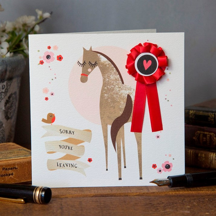 Sorry You're Leaving Card with red rosette