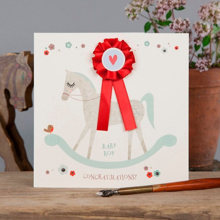 Baby Boy Horse Card with red rosette