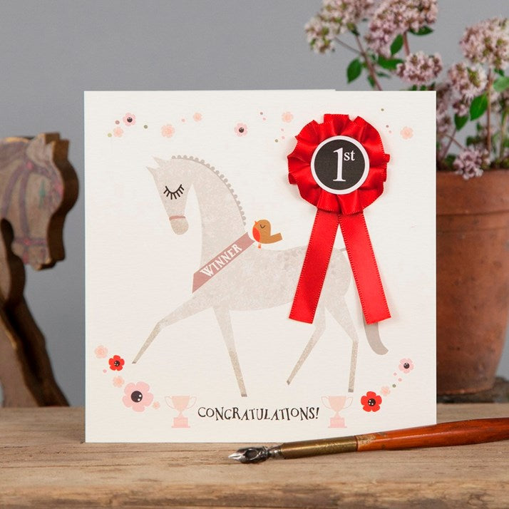 'Congratulations' Card with red rosette