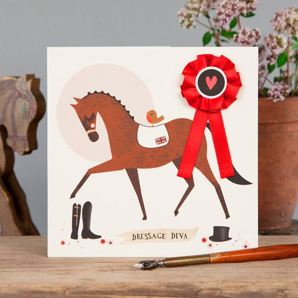 Dressage Diva Greetings Card with red rosette