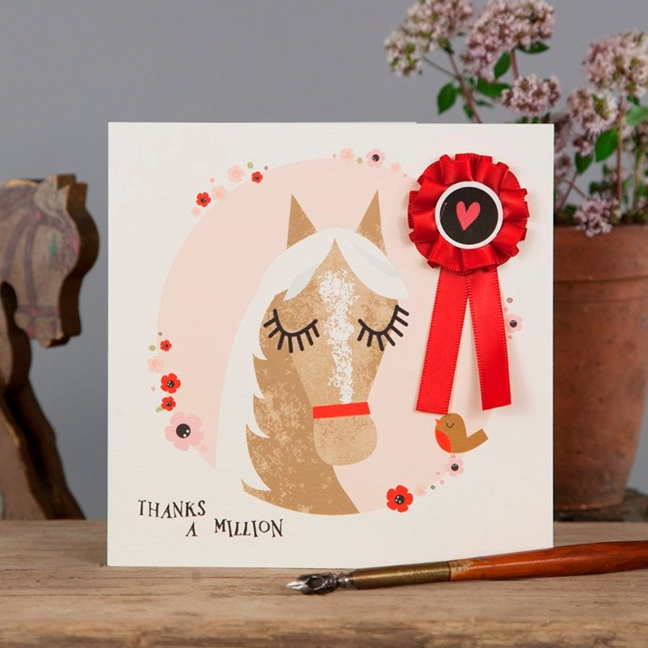 'Thanks A Million' Greeting Card with red rosette