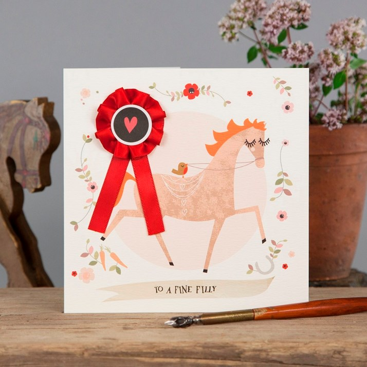 Greetings card 'to a fine filly' with red rosette
