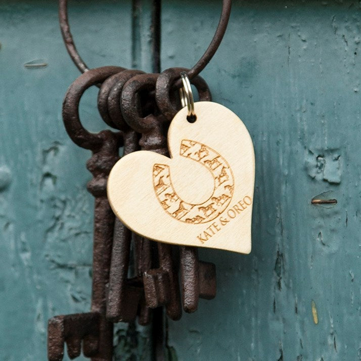 Wooden heart shape keyring with personalised horse logo and names