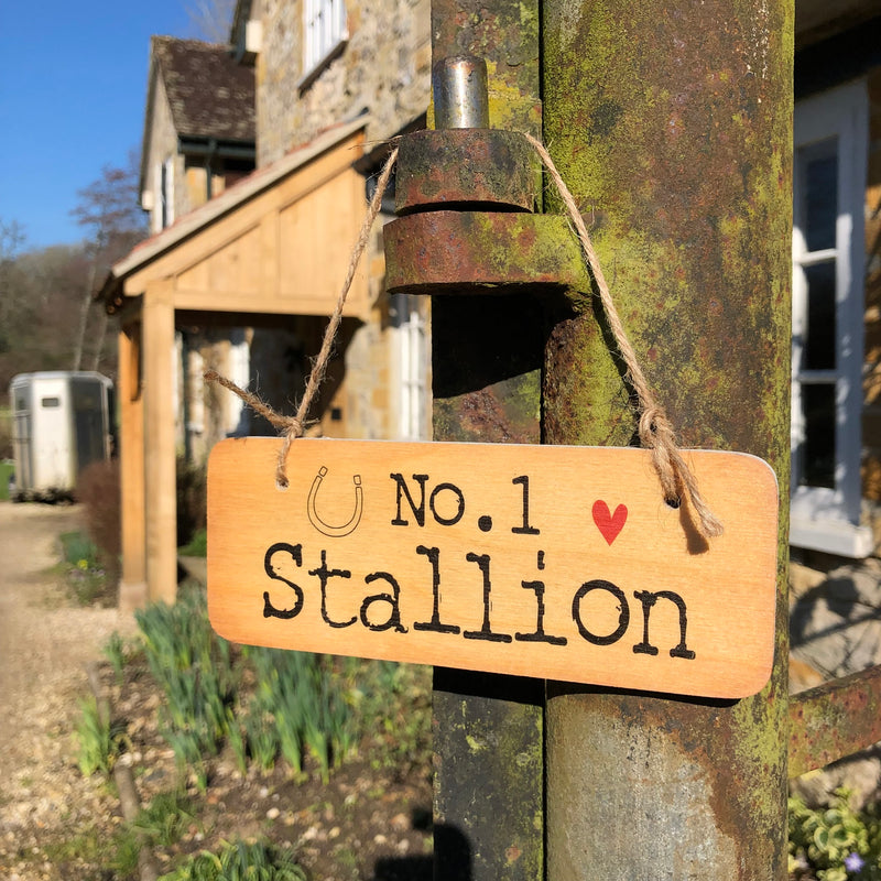 "Wooden hanging sign with ""No. 1 Stallion"" printed on"