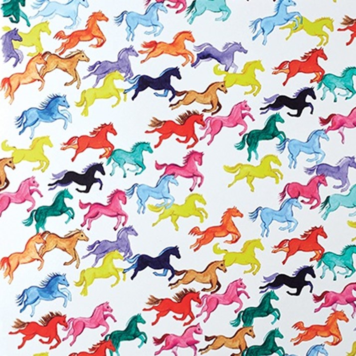 Coloured Herd of Horses Wrapping Paper