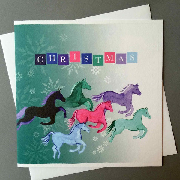 Coloured Flying Horses Christmas Card