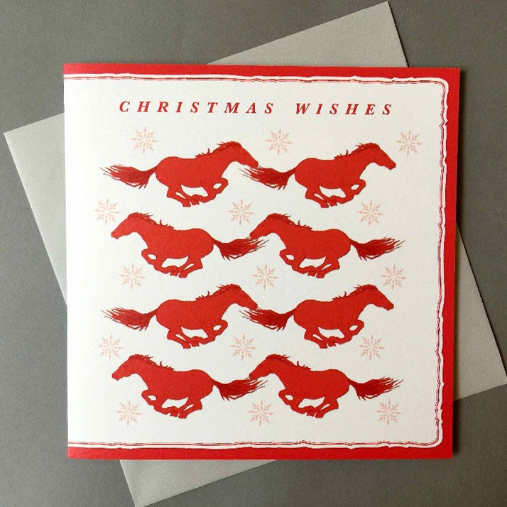 Galloping Horses Christmas Card