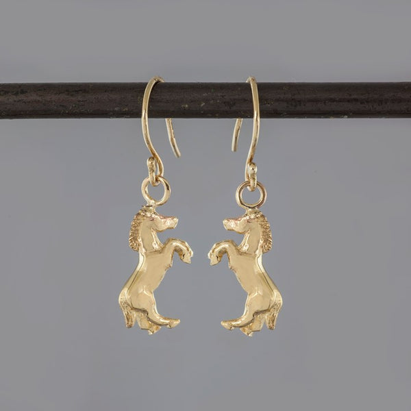 Solid 9ct Gold Horse Earrings