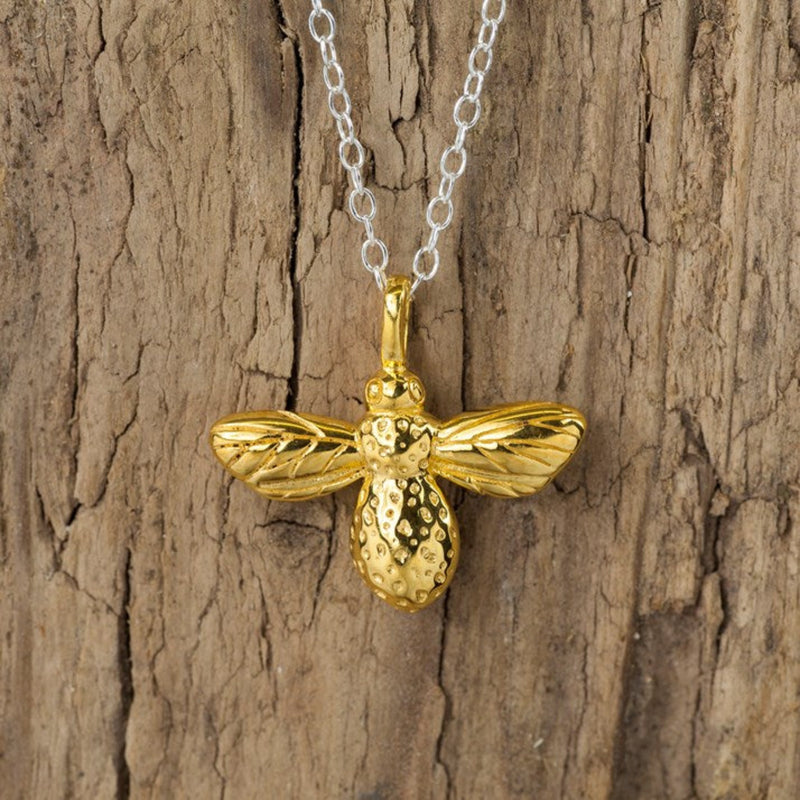Sterling Silver & Gold Plate Bee Necklace