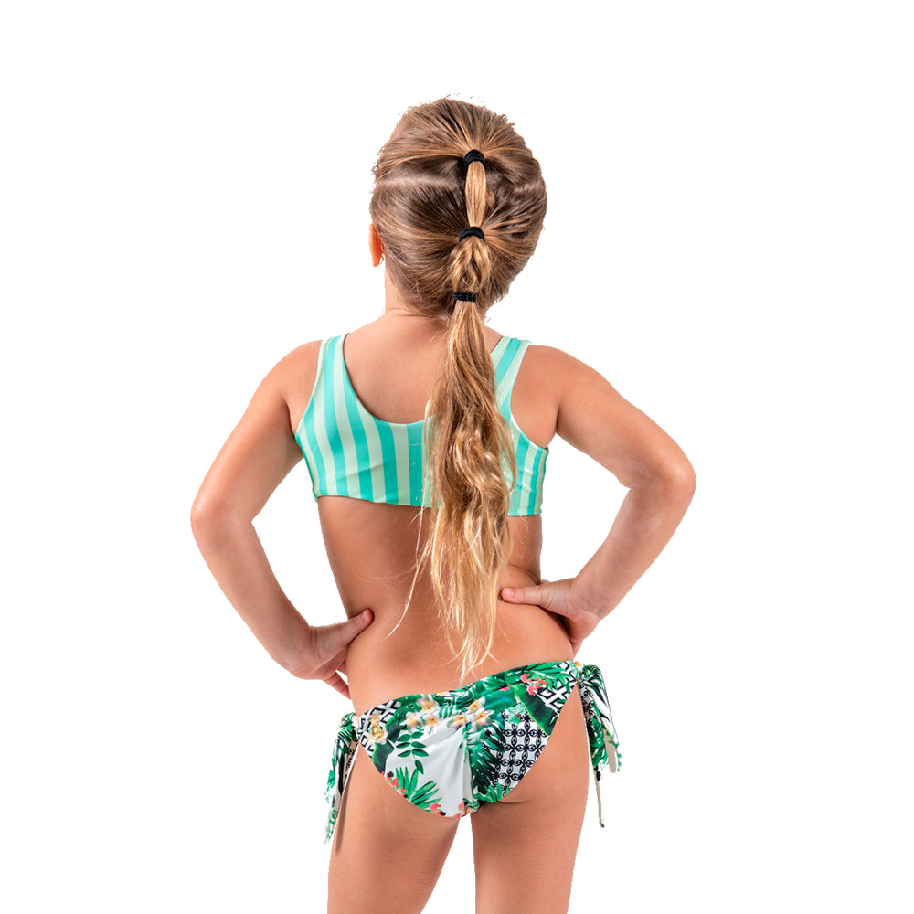 Striped Forest - Knot Trikini - Kids Swimwear