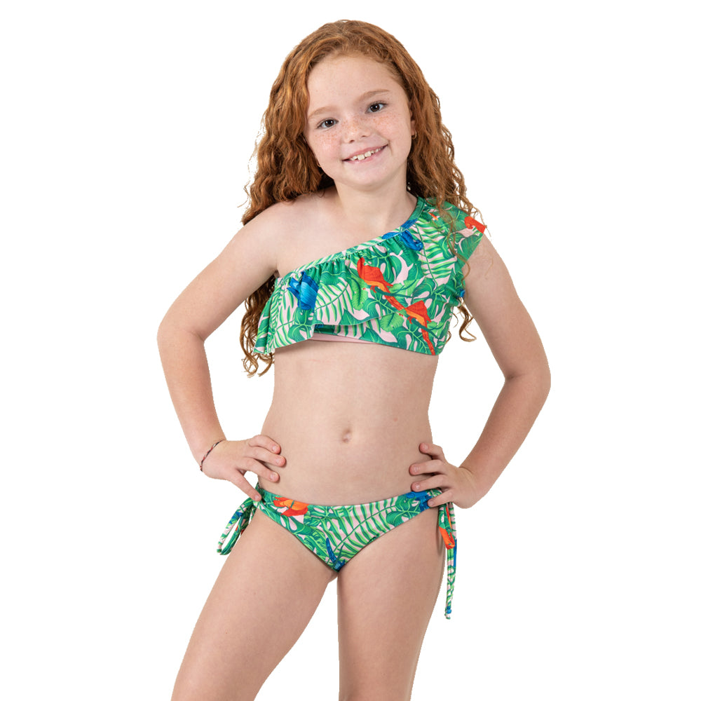 Parrot Jungle -  One Shoulder Bikini - Kids Swimwear