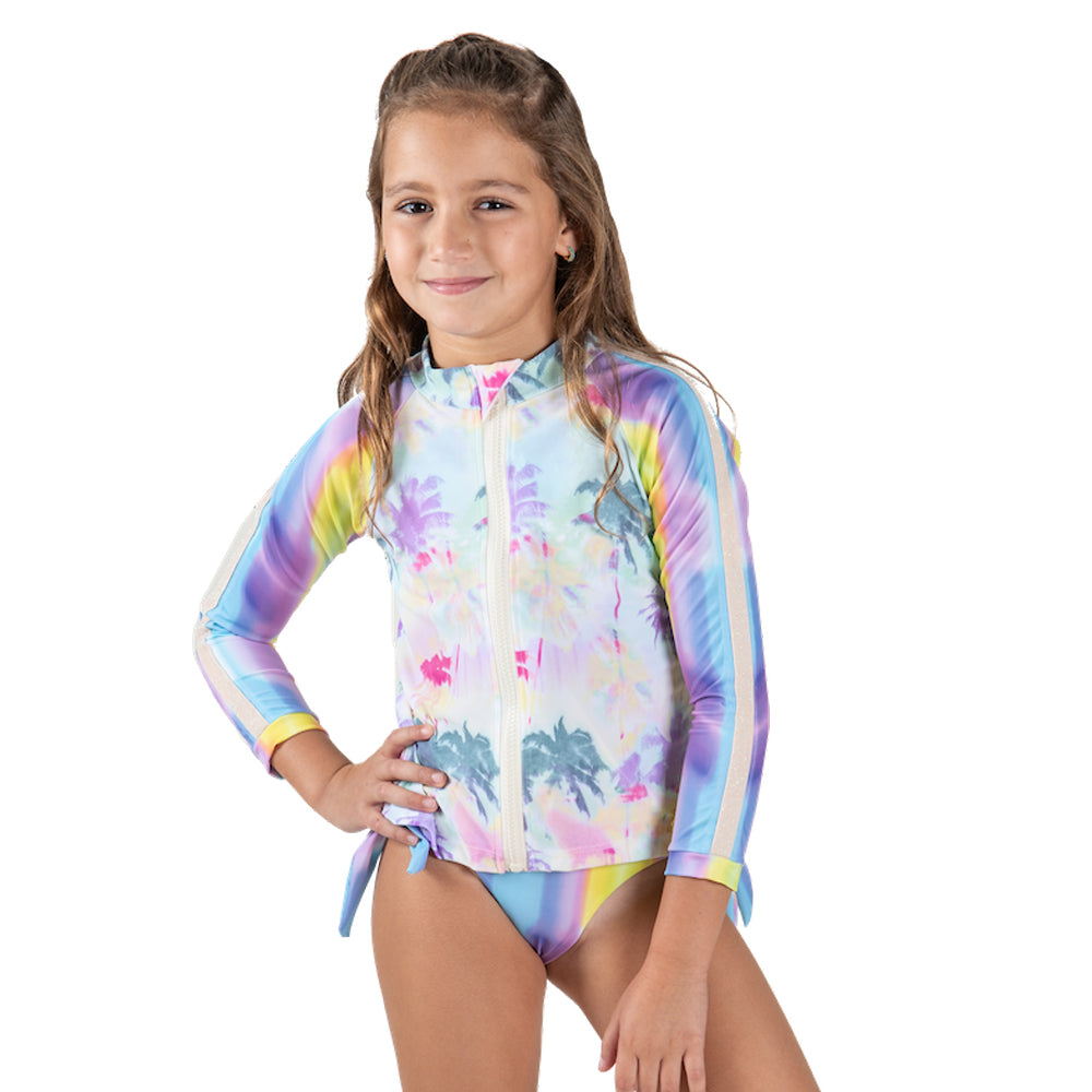 Rainbow Palm Tree - Rash Guard - Kids Swimwear