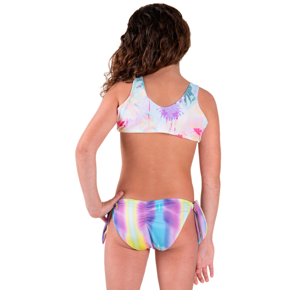Rainbow Palm Tree - Trikini Knot - Kids Swimwear