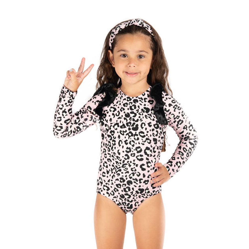 Pink Leopard -  One Piece Long Sleeve - Kids Swimwear