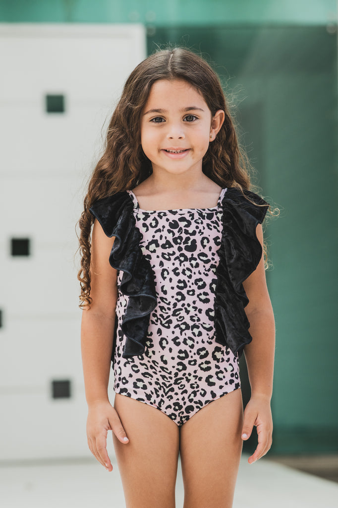Pink Leopard -  One Piece Sleeveless - Kids Swimwear