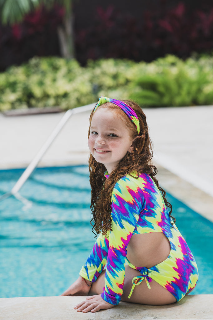 Neon Tie Dye -  One Piece - Kids Swimwear