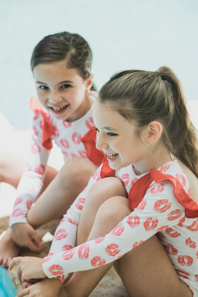 Red Kisses - One Piece - Kids Swimwear