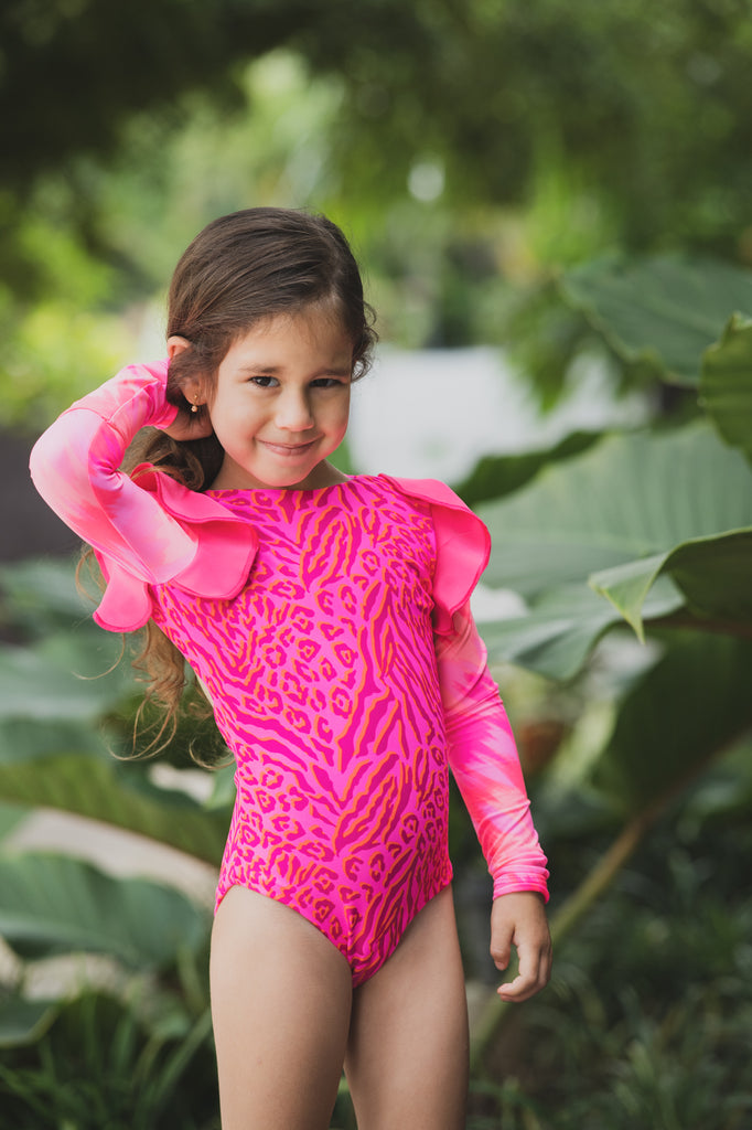 Tie Dye Leopard - One Piece Long Sleeve -  Kids Swimwear