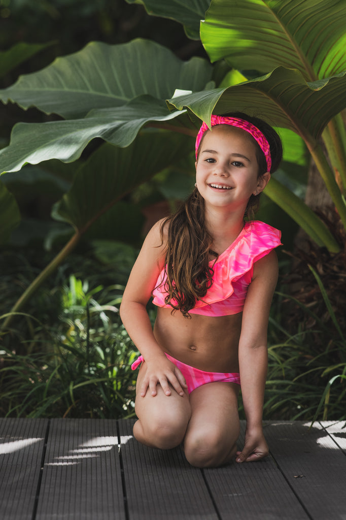 Tie Dye Leopard - One shoulder bikini - Kids Swimwear