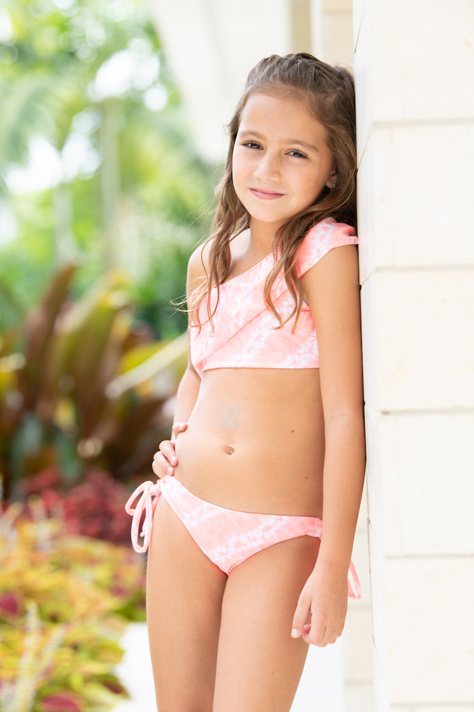 Orange Tie Dye - One Shoulder Bikini - Kids Swimwear