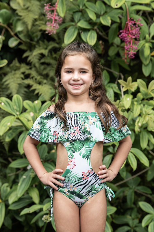 Striped Forest - Trikini Off the Shoulders - Kids Swimwear