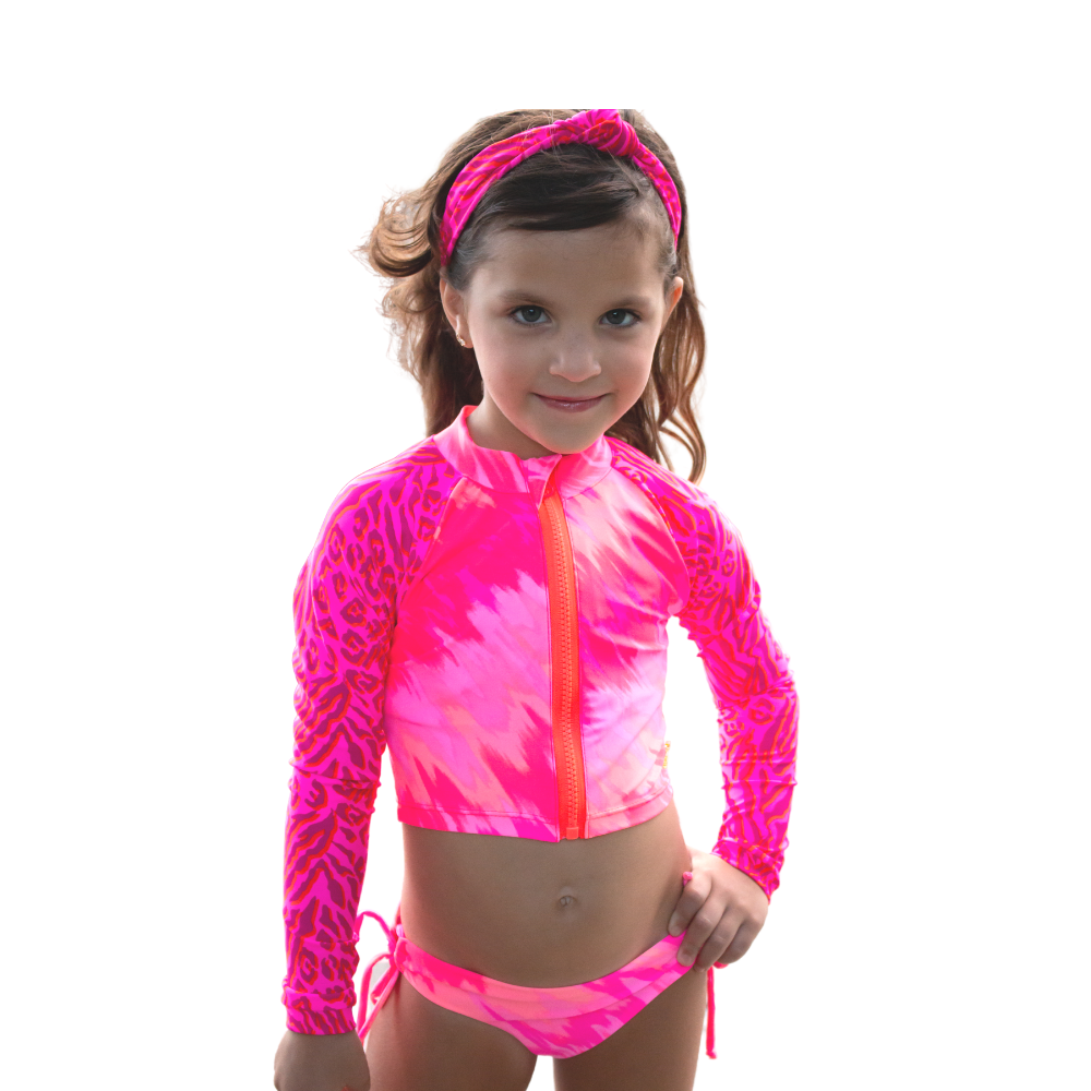 Tie Dye Leopard - Rash Guard - Kids Swimwear
